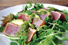 Chili Crusted Ahi Tuna Salad with Cilantro Garlic Dressing