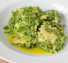 Ravioli with Green Pea Pesto